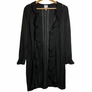 Chico's Black Knit Cardigan Ruffle Open Front M 8